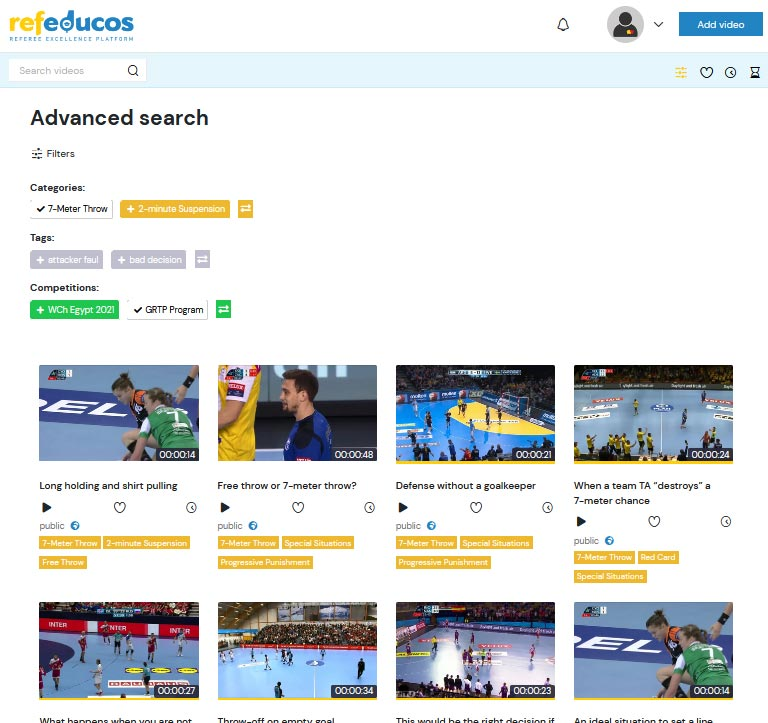 Advanced search with the ability to filter by categories, tags or leagues